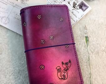 All Sizes Pink Foxy Travelers Notebook Elrohir Leather Midori Standard A4 A5 B6 A6 Cahier B6 Pocket Regular Passport fox journal pink purple