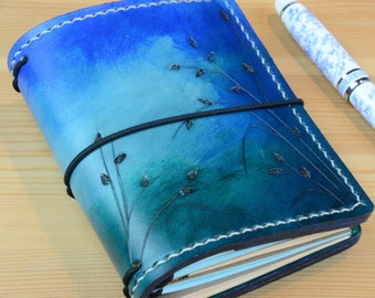 All Sizes Seagrass Ombre Turquoise Blue Travelers Notebook Fauxdori Midori A4 A5 A6 Cahier Pocket Regular Standard Personal Passport A7