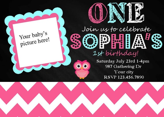 Owl First Birthday Invitation 1st