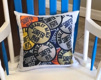 Bradley Beach Surf Patch Pillow