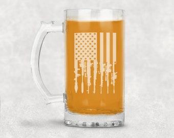 Gun Flag Glass Beer Mug
