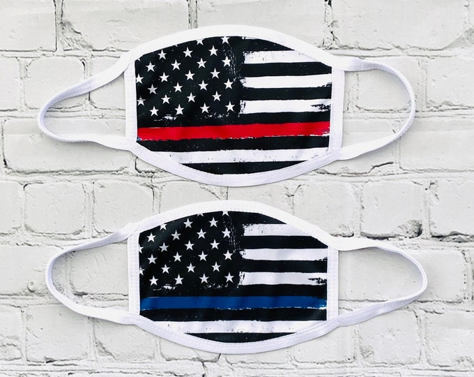 Thin Blue Line Printed face covers