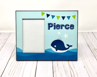 Custom personalized 8x10 picture frame holds a 4x6 picture