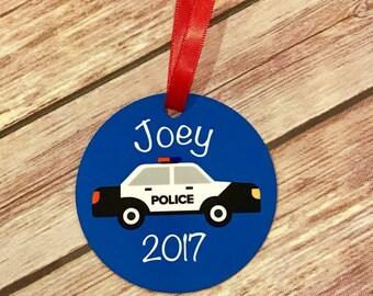 Thin Blue Line Police Christmas Ornament