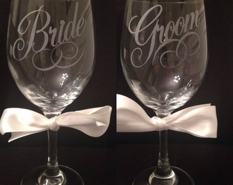 20 Ounce Bride and Groom Etched Wine Glass