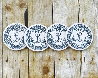 Personalized Monogrammed Water Absorbing Sandstone Coaster Or Any Custom Design