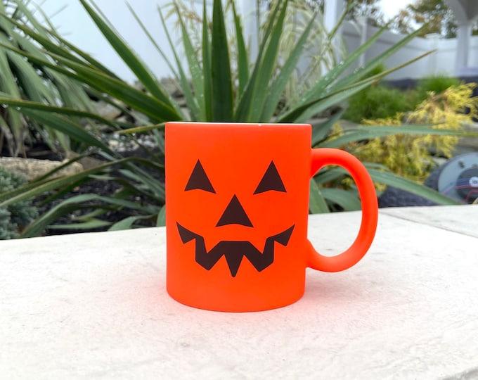 Personalized Halloween Orange 11oz ceramic coffee mug with name