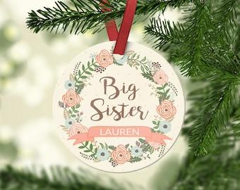 Big Sister/Little Sister Aluminum Christmas Ornament