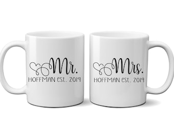 Mr. & Mrs. Ceramic Coffee Mugs