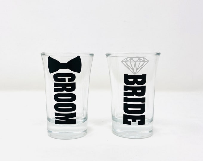 Bride and Groom shot glasses