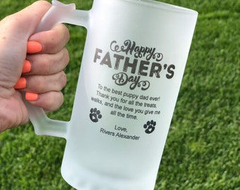 Doggy Dad Frosted Glass Beer Mug