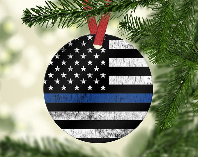 Thin Blue Line Police Christmas Ornament