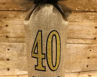 Birthday Burlap Wine Sack