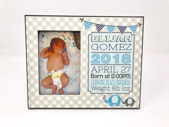 Custom personalized 8x10 birth statistics picture frame holds | Etsy
