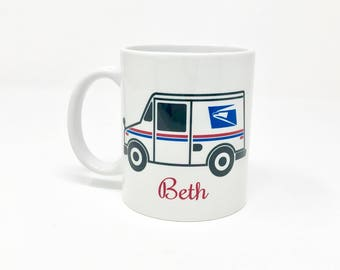 Mail carrier 11 ounce ceramic coffee mug.
