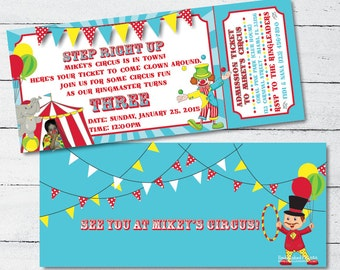 Personalized Carnival Themed Ticket Invitation 4x9.25