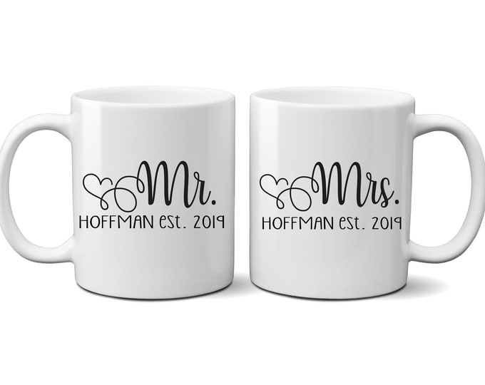 Mr. & Mrs. Ceramic Coffee Mugs