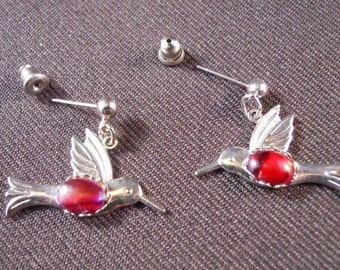 Hummingbird Earrings In Silver With Red Paua Shell Centres On Silver Studs