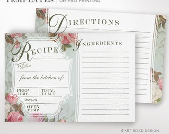 Recipe Card Template - Vintage Rose Printable Recipe Cards - Printable DIY French Country Custom Recipe Card Template
