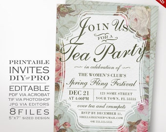 Tea Party Event Invitation Template