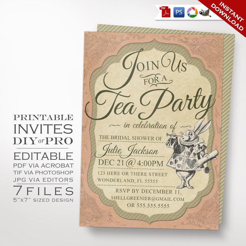 Alice In Wonderland Tea Party Invitation Template Vintage Etsy