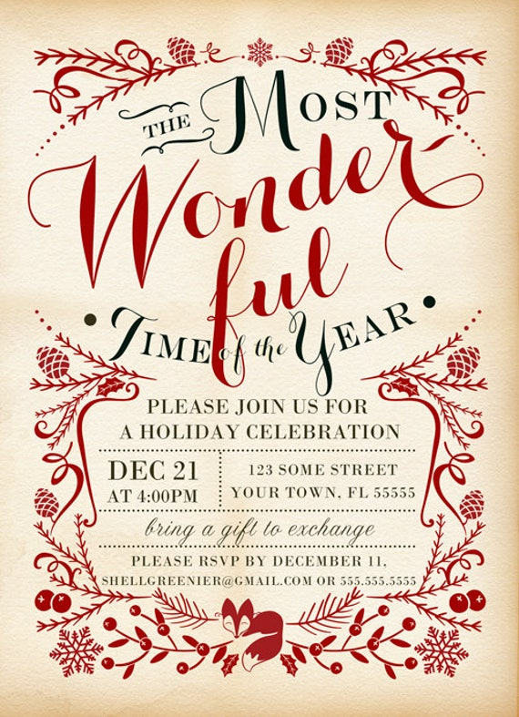 christmas invitation template winter woodland holiday party etsy