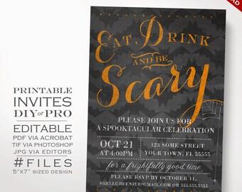 Halloween Invitation Template - Halloween Party Chalkboard Costume Party Invite - Printable DIY Halloween Party Invitation Editable Event
