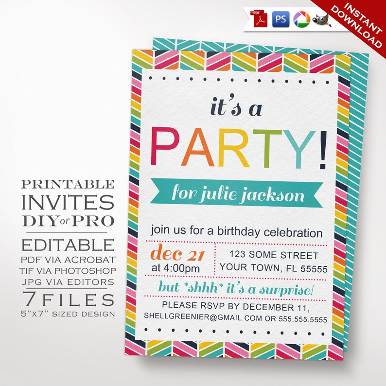 Rainbow Birthday Party Invitation Template