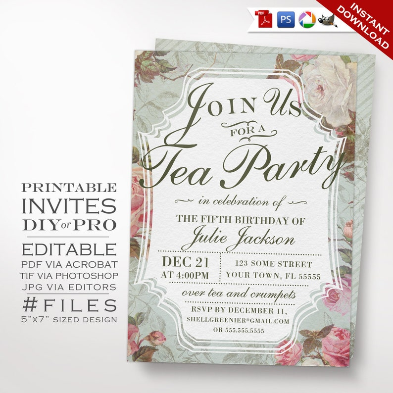 Birthday Tea Party Invitation Template Vintage Rose