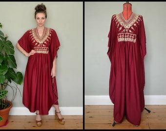 Incredible Vintage 1970's Maroon Gold Embroidered Ethnic Kaftan Freesize