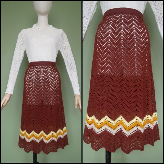 Hand Crocheted Vintage 1970's Maroon Chevron High