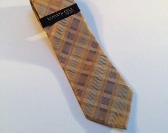 Kenneth Cole Necktie, 100% Imported Silk, Handmade Necktie, Gold-tone Plaid Vintage Men's Accessories