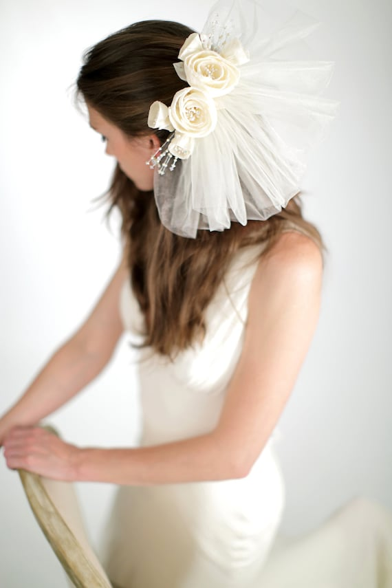 Silk Floral Back Piece With Tulle Pouf Veil Bridal Veil Etsy
