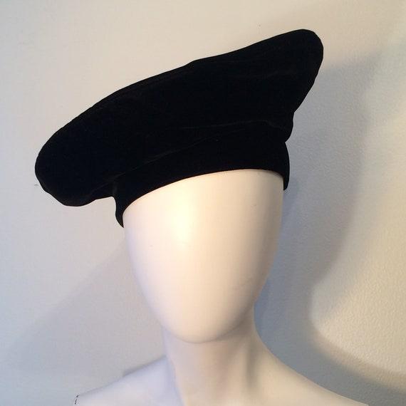 Frank Olive Black Velvet Beret, Vintage Beret, Pri