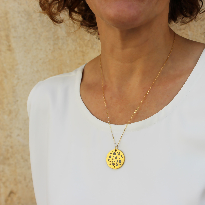 Concrete Necklace Balance Necklace Circle Necklace Gold Necklace for Women Geometric Unique Pendant Necklace Minimalist Jewelry