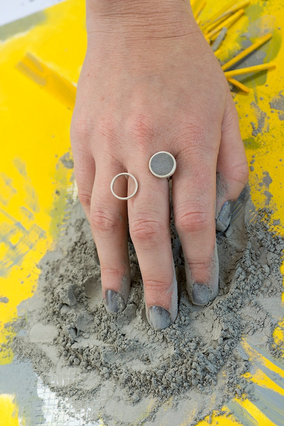modern ring Gold plated ring Cone ring Unique statement ring concrete jewellery Contemporary ring concrete ring hand made ring