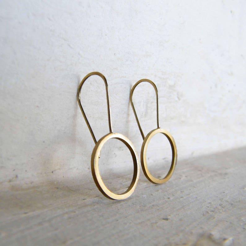 Circle Earrings Minimalist Earrings Sterling Silver or Gold Modern Jewelry Short Dangle Earring Silver Drop Earrings Geometric Earring
