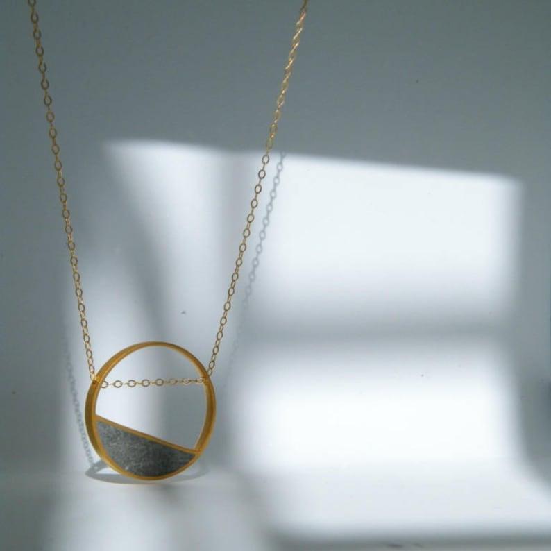 Circular Pendant Memory Balance Necklace Gold and Cement Necklace Basic Shape Pendant Minimal Pendant Concrete Necklace Divorce Gift,