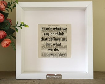Jane Austen - sense and sensibility quote - wall art - framed print - framed quote - home decor - framed wall art - book page art