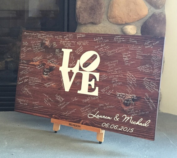 Wedding Guest Book Wood Guest Book Wedding Guestbook: Wedding Guest Book Wood Guest Book Wedding Guestbook