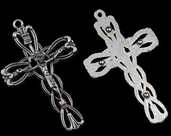 Rosary Crucifix Pendant Ornate Flower with Hearts Antique Silver Rosary Parts Supplies