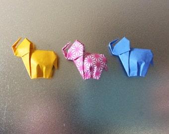 Set of 3 Origami Elephant Magnets | Elephant Refrigerator Magnets | Elephant Fridge Magnets | Unique Elephant Gift