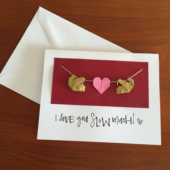 Sloth Pun Love Card Card For Sloth Lovers Origami Heart Etsy