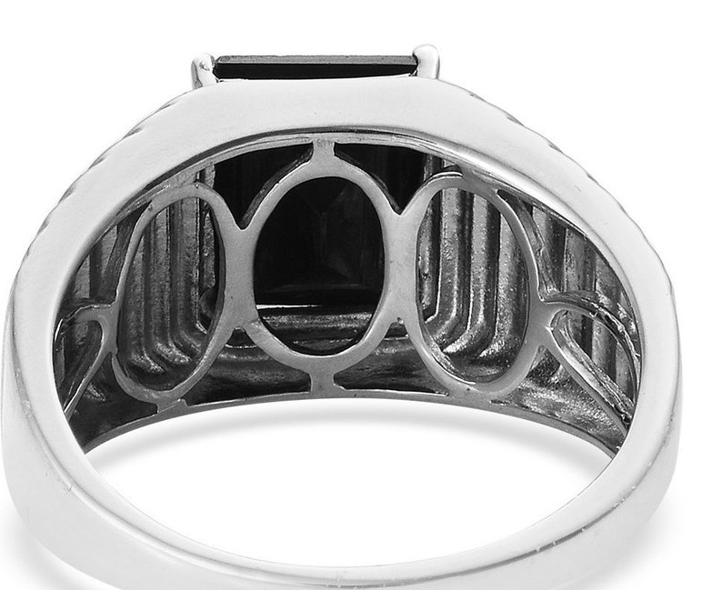 Size 10.0 7.40 ctw Mens Tourmaline Ring Platinum Over Sterling Silver