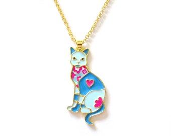 Patchwork cat 45x22mm zamak gold chain necklace