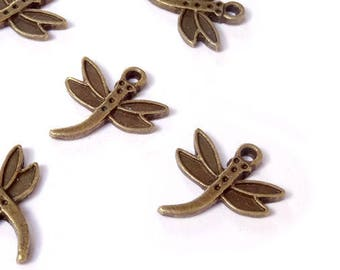10 charms 17x19mm bronze metal Dragonfly / Butterfly-16