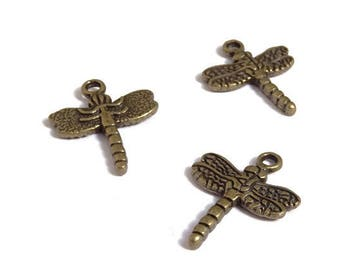 10 charms 20x16mm bronze metal Dragonfly / Butterfly-17