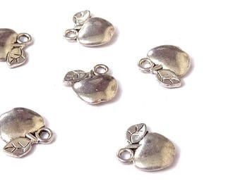 10 charms Apple fruit silver 12x11mm food food food A09