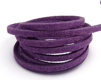 1 m EGGPLANT purple 3mm x 1.5 mm suede cord