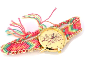 Watch dreamscatcher braided beige pastel green rose gold metal - PASTEL